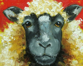 Sheep painting 22 12x12 inch original oil painting by Roz