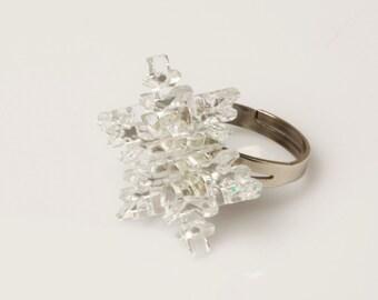 Snowflake Ring,Plexiglass Jewelry,Lasercut Acrylic,Gifts Under 25