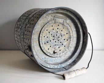 Vintage Minnow Bucket Galvanized Steel Bait Bucket Fishing Pail Outdoors Garden Pot Perforated Metal Equipment Rustic Cabin Chic Decor