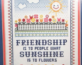 ON SALE Vintage Counted Cross Stitch Kit Dimensions 3504 Friendship Sampler Mary Smith 1982