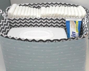 Diaper Caddy- Fabric Storage Basket-  11 X 10 Organizer Bin- Nursery Decor- Baby Shower Gift- Blue Arrow Basket-- Storage Bin with Divider
