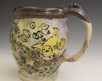 Extra Large mug with Yellow Warbler birds handmade pottery