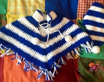 70s Toddler Poncho and Head Wrap