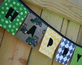 Boys HAPPY BIRTHDAY Reusable Fabric Banner - John Deere Tractors in green yellow black gray brown - Eco-Friendly