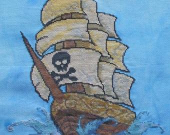 Pirate ship counted cross stitch pattern