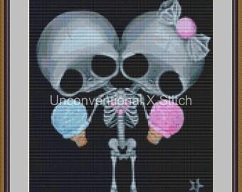 Sugar Twins conjoined twins cross stitch pattern - Sugar Twins MINI - Licensed Sugar Fueled