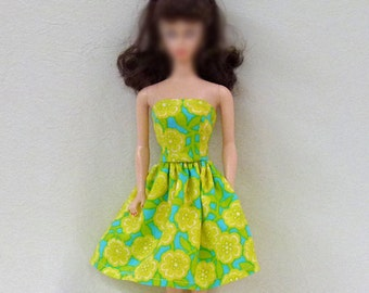 "Handmade 11.5"" fashion Doll Dress in lime and aqua"