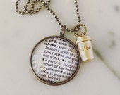 Coffee Definition Charm Necklace Personalized Brass Map Jewelry - Vintage Dictionary Jewelry - Caffeine Addict