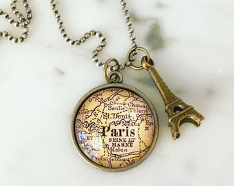 Paris Map Necklace with Eiffel Tower Charm - Wanderlust - Travel Addict - World Travel - France