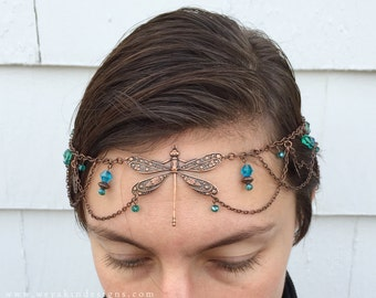 Moss Wings Dragonfly Faerie Circlet - Copper, Green, Blue - With Clasp - Belly Dance, Wedding, Renaissance or Costume Accessory