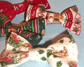 "Bow Tie Clip-On 4.5"" High Quality Christmas Fabric for Child and Adult - Choose from 4 Styles"