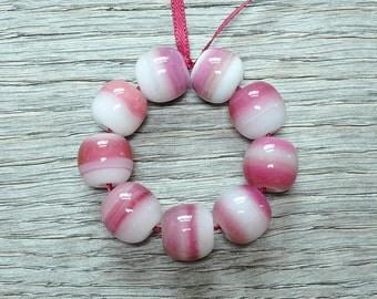 40% off - Raspberry Bonbons, whiter - Lampwork beads by Loupiac