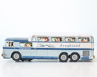 Vintage Greyhound Bus, Toy Bus, Daiya
