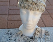 Winter Hat Headband Head Warmer Fingerless Mittens Texting Gloves Washable Oatmeal Hand Knit One Size Fits Most 4