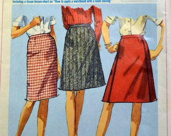 Vintage 1966 Sewing Pattern Simplicity 6647  Teens' and Juniors' Simple to Sew Skirt Waist 25 inches Complete