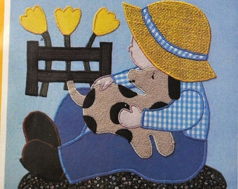 Applique Pattern Puppy Love  Complete Uncut Sunbonnet Sam Quilting