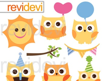 Birthday owls clipart - Cute yellow owl clipart - digital images - instant download
