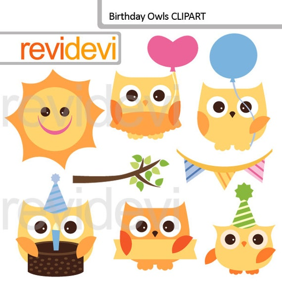 Items similar to Birthday owls clipart - Cute yellow owl ...