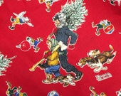 Christmas Norman Rockwell Fabric 1 yard - more available