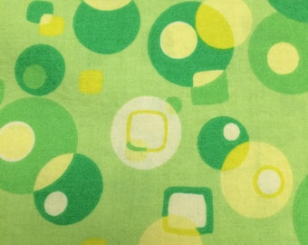 Lime Green Mod Circles Fabric - 31 inches x 44 inches