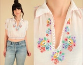 ViNtAgE 20s 30s Artisan Made Hungarian Hand EMBROIDERED Blouse // Floral Sheer Cotton Top // PENNY Lane // Small Medium Small