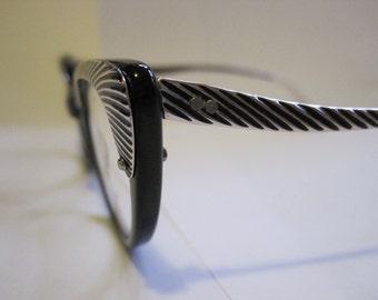 1950s Vogue USA Vintage Cat's Eye Glasses Black Chrome