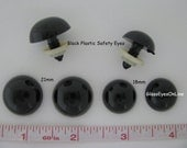 10 PAIR 18mm or 21mm BLACK Safety Eyes for teddy bears, dolls, puppets, monsters, plush animals, sewing, crochet projects (PE-1)
