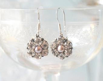 ADORE Vintage Rhinestone & Pearl Bridal Earrings