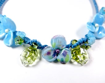 Flower Jewelry Designs Flower Necklace Lampwork Flowers Statement Necklace Macrame Necklace Statement Flower Necklace  Aqua Blue Flower Bib