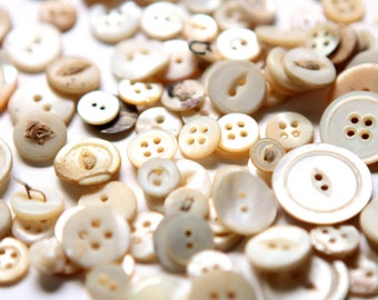 Supplies - 100 Mother of Pearl Buttons, vintage button lot, craft buttons, antique buttons, shabby buttons, pearl buttons