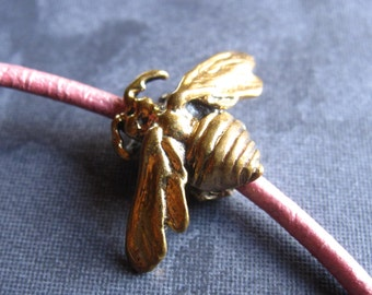 Large Holed Bronze Bee Bead - 2.5mm hole - 21mm X 18mm