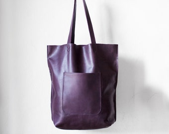 Leather Arrow Tote in Purple  / Leather Tote Bag  / Purple Tote Bag / Leather Handbag / Purple Leather Tote / Leather Handbag