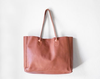 Leather Shopper in Peach / Nappa Leather Handbag / Leather Tote / Shoulder Bag / Brown Leather Bag / Leather Bag / Women's Handbag /