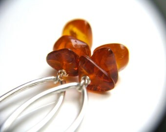 Amber Earrings . Elegant Earrings . Genuine Amber Drop Earrings . Marquise Earrings . Chandelier Earrings Silver - Neolithic Collection NEW