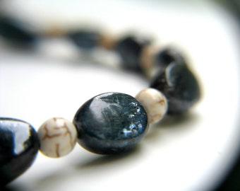 Blue Kyanite Bracelet . White Howlite Bracelet . Blue and White Bracelet . Simple Bead Bracelet . Gemstone Bracelet - Cirrus Collection