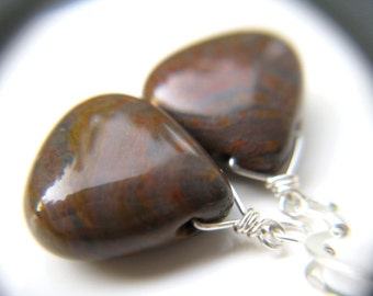 Tiger Iron Jasper Earrings . Strength Jewelry . Triangle Earrings . Earthy Earrings . Brown Teardrop Earrings Dangle - Morocco Collection