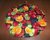 MIxed Berries Fruit, Hot Pad, Hot Pads, Pot Holder, Pot Holders, Potholder, Potholders, Round, Quilted, Novelty Cotton, 9 Inches, Gift Mom
