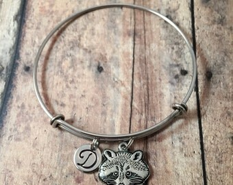 Raccoon initial bangle - raccoon jewelry, raccoon bangle, silver raccoon bracelet, woodland jewelry, forest jewelry, animal bangle