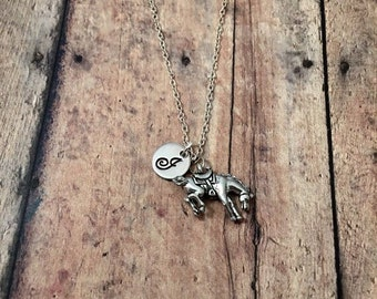 Bucking bronco initial necklace - horse charm necklace, horse jewelry, western jewelry, rodeo necklace, cowboy necklace, bronco necklace
