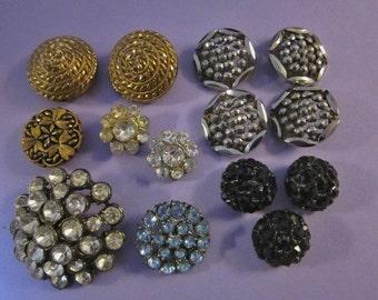Vintage Rhinestone Glass and Steel Cut Buttons DeStash