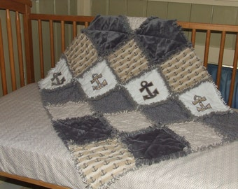 Personalized Custom Nautical Anchor Gray n Beige Crib or Toddler Bed Rag Quilt w Minky & Sheet 2 PC Set ** READY To SHIP **