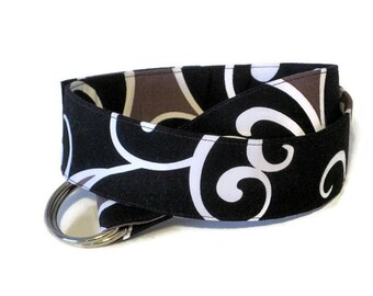Black Gray D-Ring Belt, Wide Fabric Belt, Thin Waist Cloth Belt for women and teens - Surf in black grey