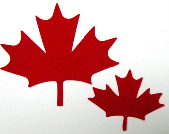Diecut MAPLE LEAVES, leaf, DIY,  wool felt blend,  appliques, Canada, red leaves,  two sizes, 14 precision die cut
