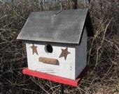 Wooden Birdhouse,  Primitive Black White Red Rusty Stars, Hanging Birdhouse, Handmade Bird House.