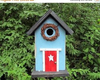 SUMMER SALE Powder Blue Primitive Birdhouse Red Door Grapevine Wreath