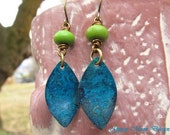 Boho chic earrings blue green dangle earrings Patina Bohemian jewelry gift for her