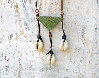 Geometric tribal necklace with cowrie shells leather cord necklace Bohemian Jewelry