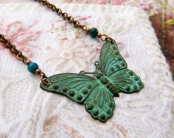 Butterfly necklace green patina pendant chain necklace Nature jewelry