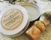 Shave Soap Kit | Herbal Shaving Soap | Shaving Kit | Natural Shave Soap + Shave Brush | Groomsman Gift | Shave Set | BEE a MAN | Fall Weddin