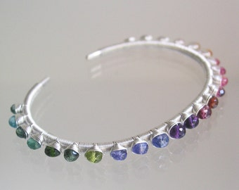 Multi Gemstone Sterling Cuff, Wire Wrapped Silver Rainbow Bracelet with Tanzanite, Tourmaline, Amethyst, Emerald